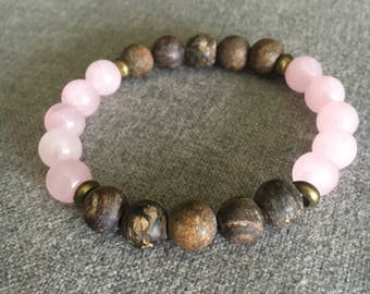 Bronzite and Rose Quartz Beaded Bracelet