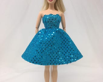 "Shimmery Doll Gown-11.5"" Doll Clothes-Shimmery Doll Dress-Formal-Prom Dress-Aqua Prom Dress-Birthday Gift for Girls-Girls Gifts-Toys"