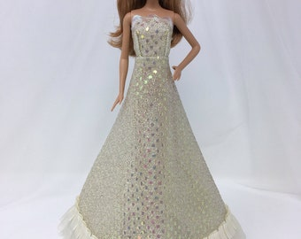 "Snakeskin Dress-11.5"" Doll Clothes-Iridescent Doll Dress-Prom Dress-Princess Dress-Dress Up Clothes-Sparkly Doll Dress-Doll Dress-Girls Gift"