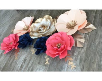 Coral, navy blue and peach with gold accent pape flower set