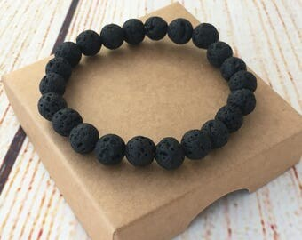 Essential oil diffuser bracelet, black lava bracelet, gift for mens, aromatherapy bracelet, stretch bracelet, fathers day gift