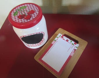 Country Cherries Checkered Ceramic Canister Set with Recipe Cards & Board