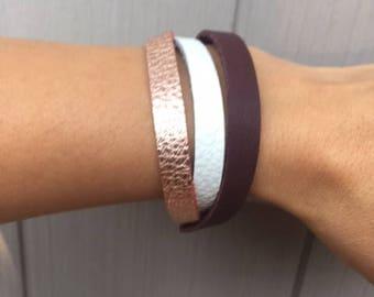 Women's Leather Boho Bracelet, Rose Gold, White and Purple Leather Bracelet, Leather Wrap Bracelet, Layering Bracelets, Gift for Her