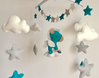 Mobile in felt for baby theme Pegasus in the sky