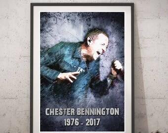 Chester Bennington printable portrait - Chester Bennington digital art - Music Poster - Rock Linkin Park - Chester Bennington RIP Poster