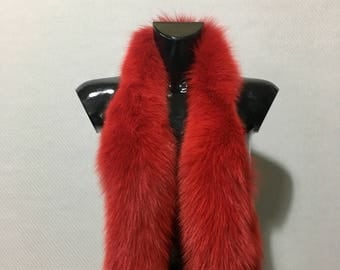 Beautiful Real Natural Red Fox Small Fur Scarf Collar