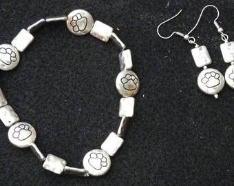 Paw Prints Bracelet  & Earrings