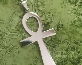 Large Ankh Necklace - Sterling Silver