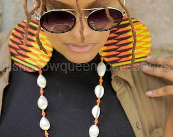 "Extra Large African Print Fabric Earrings - ""Toni"" print"