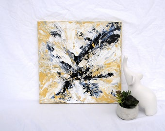 Yellow Abstract Acrylic Painting on Canvas