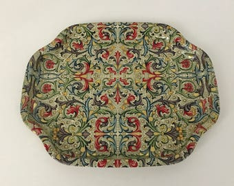 Vintage Paisley Mini Tray - Elite Trays - Made in England - coral, cream, gold, and blue