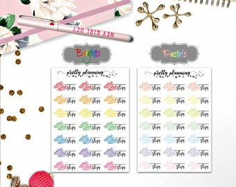 Colorful Step Tracking stickers fit a variety of planners and Traveler's Notebooks, including Erin Condren Life Planner and Happy Planner.