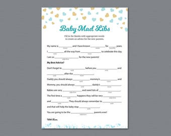 Boy Baby Shower Mad Libs Printable, Advice For The New Parents, Blue Hearts  Confetti