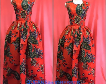 Orange ankara maxi dress with pockets. Floor length ankara dress .womens clothing .ankara fashion