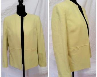 open front blazer open front jacket vintage green blazer yellow blazer vintage wool blazer wool jacket light green blazer women's medium