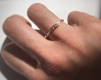 Hand Stamped Personalized Coordinate Tiny Stacker Rings