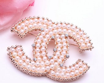 Chanel Inspired  stamped Pearl and Crystal Brooch
