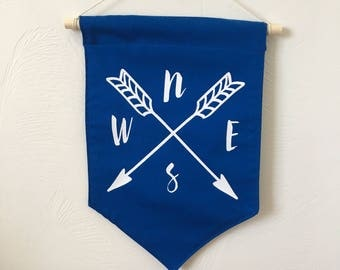 Blue compass wall banner