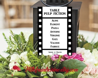 Movie Theme wedding table plan, personalized card, birthday, communion, baptism,