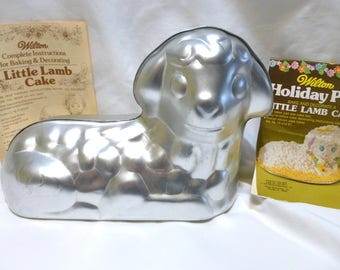 Vintage Easter Wilton Cake Pan Little Lamb Aluminum 2 Piece with Instructions Directions 1976 First Communion Baby Holiday