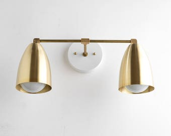Modern Brass Fixture   Bathroom Lighting   Brass Vanity Lamp   Wall Light  Brass   Mid