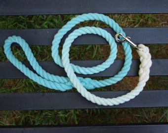 Turquoise Ombre Rope Dog Leash