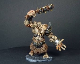 Krug, hill giant. A hand painted mini for your tabletop dungeon and dragons adventure. Huge bad guy!