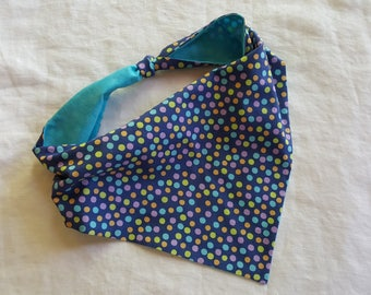 Shaped Tie End Dog Bandana - Reversible Purple with Polka Dots/Light Teal