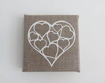 Painting on natural linen paper heart. 12 x 12 cm, paper cut picture kirigami