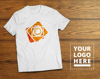 T-Shirt Mock-Up Template Fully Editable White Black Colored Wood Background