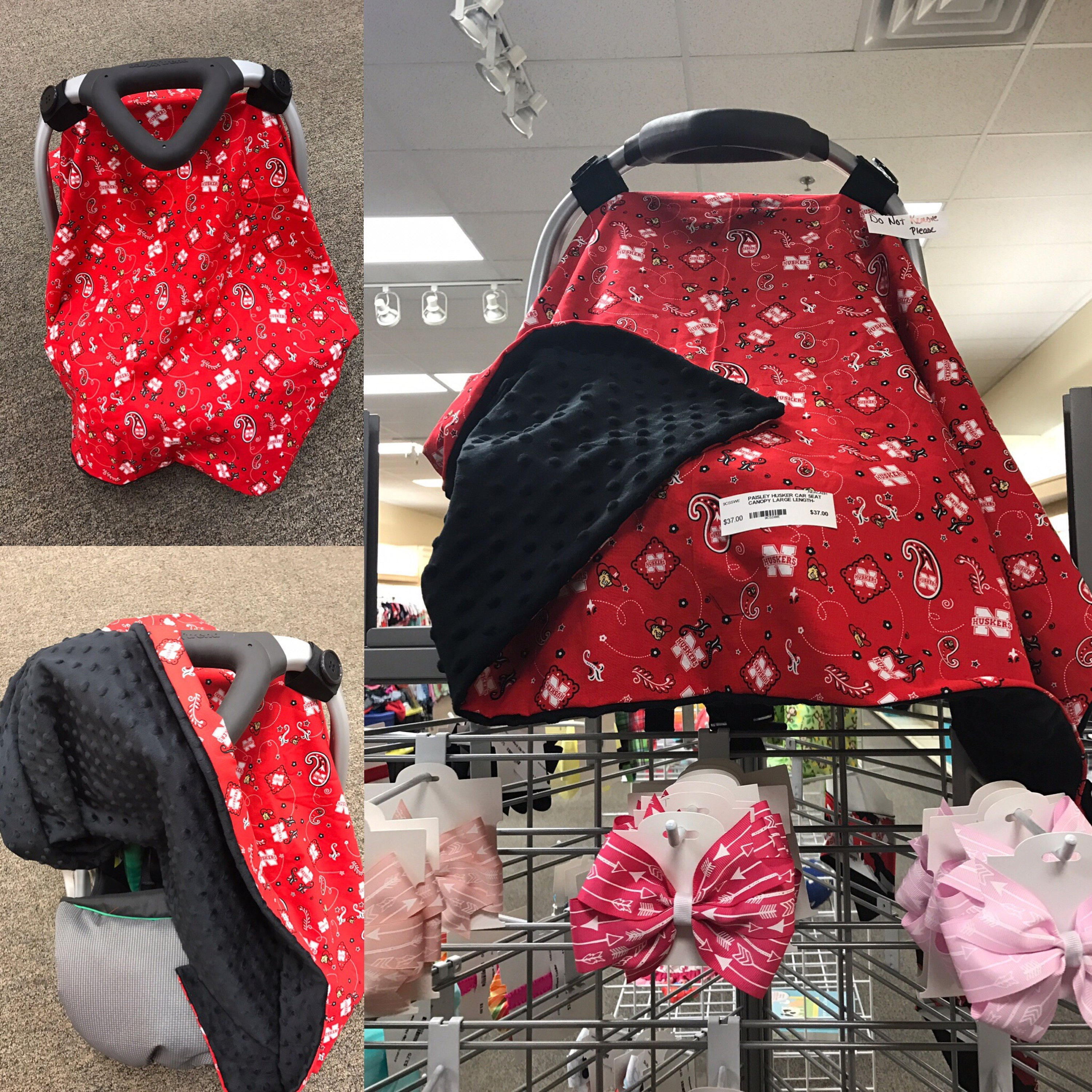 & Husker Paisley Car Seat Canopy with Black Minky Dimple Dot Backing