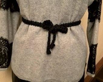 Black and white braided belt