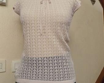 Sweater lightweight short sleeve light pink color