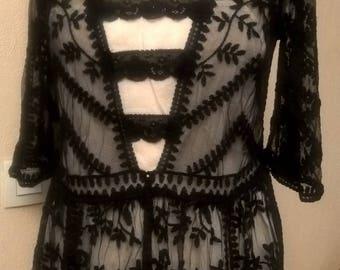 Dress sleeves three quarter Black Lace
