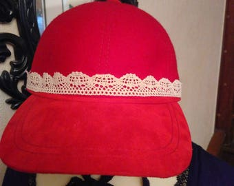 Red suede and wool hat
