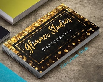 PERSONALIZED and PRINTED Business and Networking Cards • Black and Gold Bokeh Sparkle Design