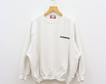 Vintage CONVERSE All Star Chuck Taylor Since 1917 Boston Mass White Sweater Sweatshirt Size XXXXL