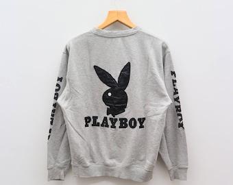 Vintage PLAYBOY Big Rabbit Bunny Logo Big Spell Streetwear Gray Sweater Sweatshirt