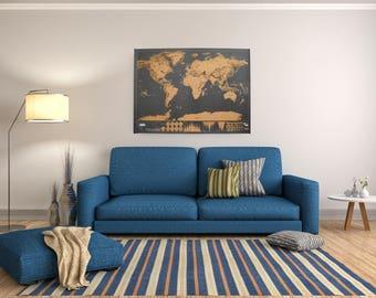Scratch Off World Map Indigo Blue Worldmap