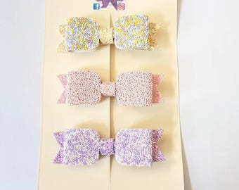 Set of three sprinkles girls hair bows - pretty hair clips - hundereds and thousands hairbows