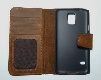 Samsung Galaxy S5 Phonecase  Genuine Leather Wallet case Folio Case for S5