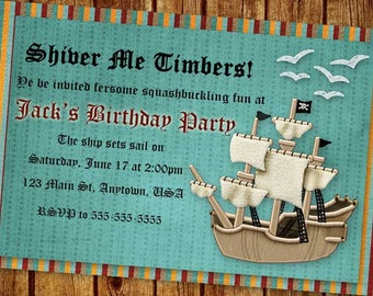 Shiver Me Timbers | Pirate Birthday Party Invitation | Boy | Girl | Pirate | Birthday | Party Invitation | Birthday Party
