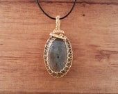 Gold wire wrapped gold and blue labradorite pendant necklace