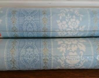 Unused Vintage Wallpaper. Blue Vintage Wallpaper Two Rolls.