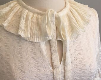 White ruffle vintage dress