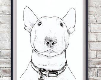 English Bull Terrier Illustration Print - Dog, Animal, Pet Portrait
