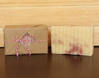 Gift Wrapped Soap/Pink Grapefruit Soap/Handmade Shea Butter Soap