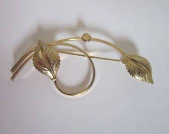 Vintage Gold Tone Leaf & Branch Large Brooch
