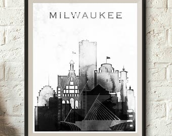 Black and Withe Milwaukee Printable, Milwaukee Printable art, Wisconsin Digital Poster, Printable wall art,Instant Download