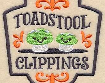 Halloween Apothecary - Toadstool Clippings, Embroidered Halloween Dish Towel, Tea Towel, Halloween Kitchen Decoration, Kitchen Towel